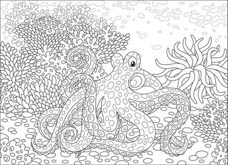Spotted octopus Vector illustration.
