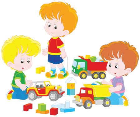 Boys playing with toy cars. Vector Illustration