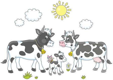 A spotted cow, a bull and a small calf. Illustration