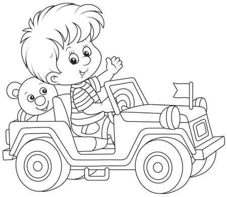 Boy playing in a toy sport car. Illusztráció