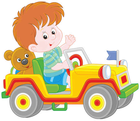 Boy playing in a toy sport car
