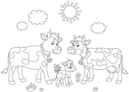 A spotted cow, a bull and a small calf