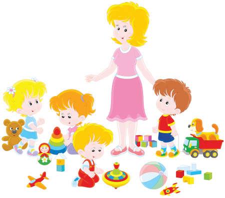 Playing children and kindergarten teacher. Illustration