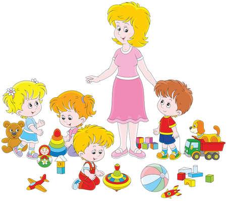Playing children and kindergarten teacher. Vector Illustration