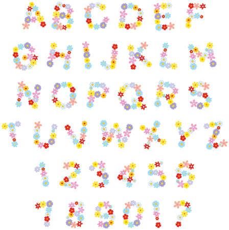 Funny floral English font for holidays Illustration