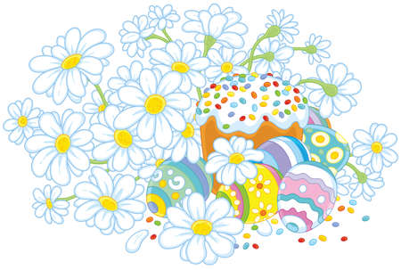 Easter eggs and a cake with flowers Illustration