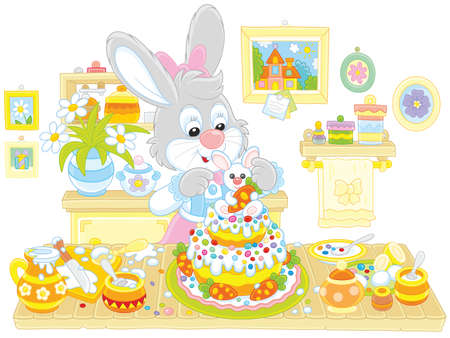 Bunny cooking an Easter cake