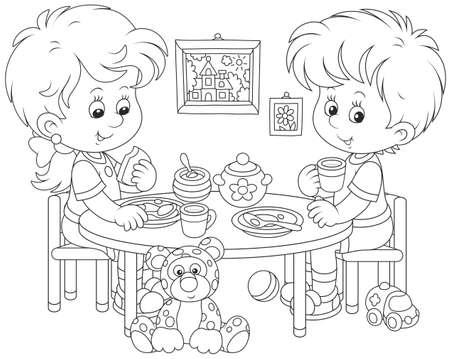 Children at breakfast Banco de Imagens - 93719507