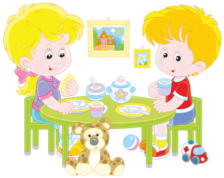 Children eating breakfast Illustration
