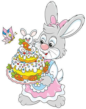 Easter Bunny with a colorfully decorated holiday cake