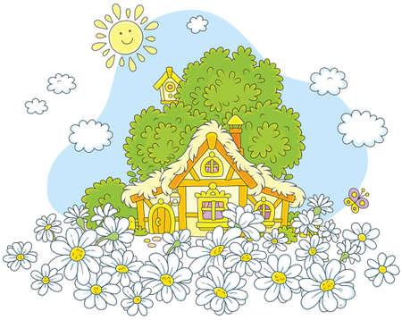 Lodge and white daisies.