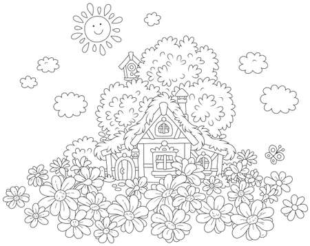 Lodge and daisies illustration.