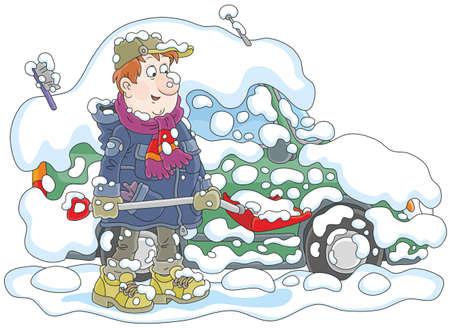 雪ベクトルイラストから彼の車を掃除する男。