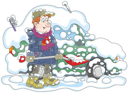 Man cleaning his car from snow Vector illustration.