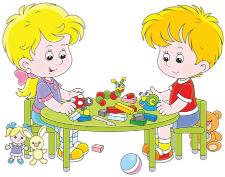 Children making plasticine toys Vector illustration. Stock Illustratie