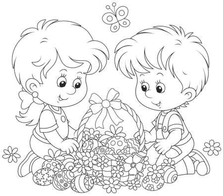 Children with an Easter basket Illustration