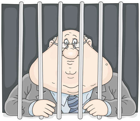 Corrupt official behind bars. Stock Vector - 95058009