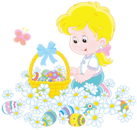 Girl with a basket and Easter eggs among flowers