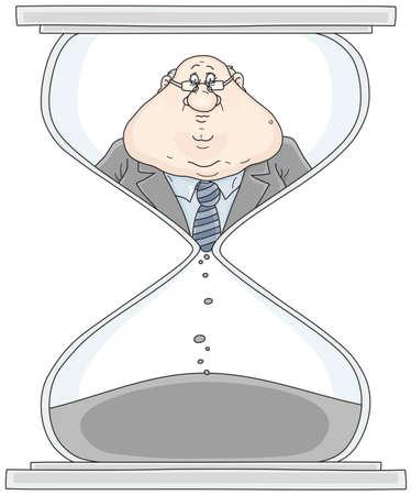 Clerk in a hourglass illustration Stock Illustratie