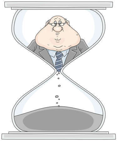Clerk in a hourglass illustration Stock Illustratie