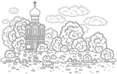 Old church among trees on an island