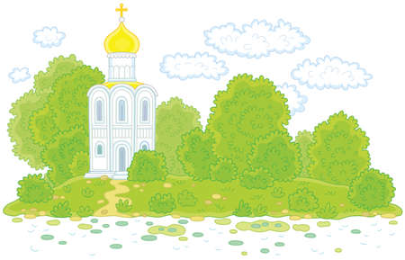 Old white church among trees on a picturesque island
