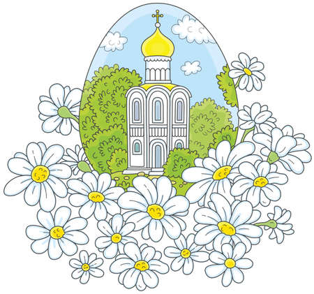 Easter egg with a white church and flowers 向量圖像