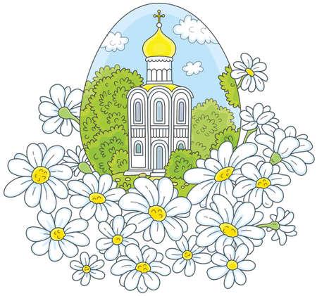 Oeuf de Pâques avec une église blanche et des fleurs Banque d'images - 95525914