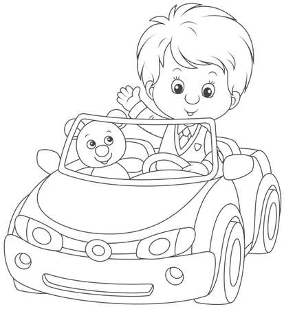 Little boy with his teddy bear coloring image