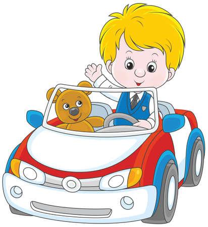 Little boy with his teddy bear inside car in cartoon illustration.