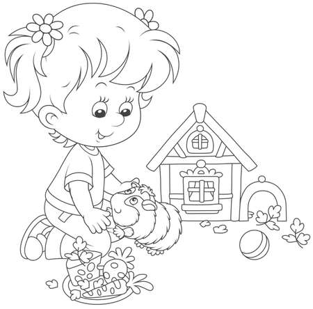 Little girl playing with her pet cavy Vector Illustration