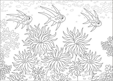 Tropical fishes and anemones pattern design