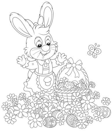 Bunny with a basket and Easter eggs among flowers
