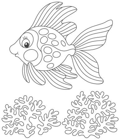 Goldfish friendly smiling and swimming over corals Illustration