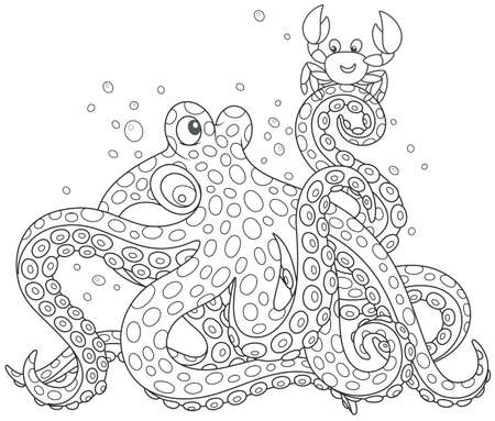 Octopus and Crab talking Illustration