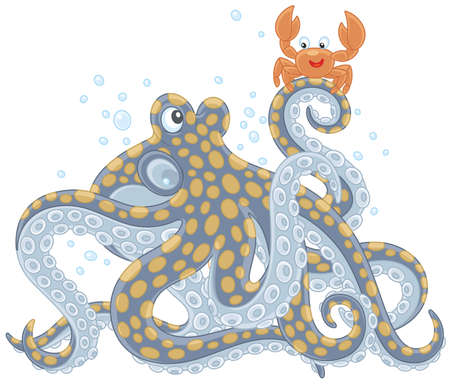 Octopus and Crab talking isolated on white background Illustration