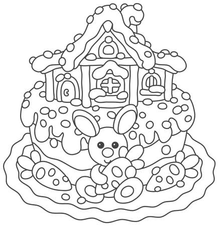Easter cake with a bunny and its house