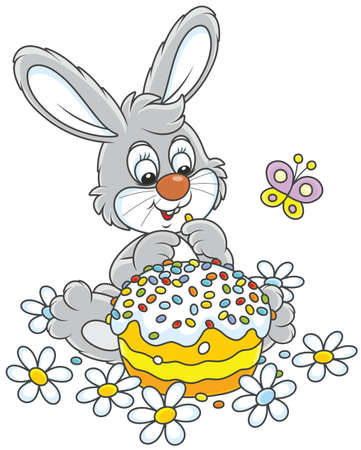 Bunny with an Easter cake, flowers and a butterfly