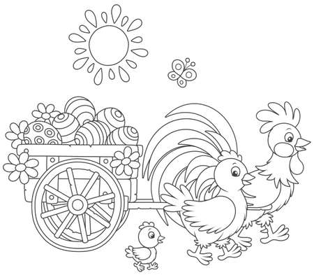 Chicken family with a basket of Easter eggs