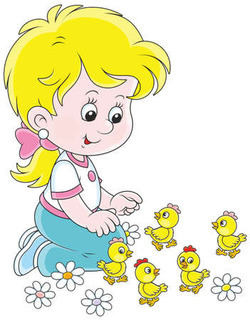 Little girl playing with small funny chicks Stock Illustratie