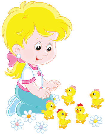 Little girl playing with small funny chicks Vectores