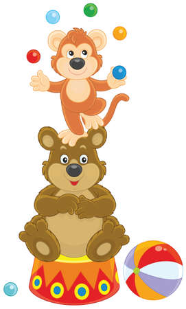 Circus bear and monkey juggling with color balls. Illustration