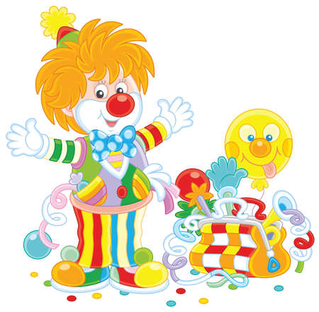 Circus clown with toys isolated on plain background. Illustration