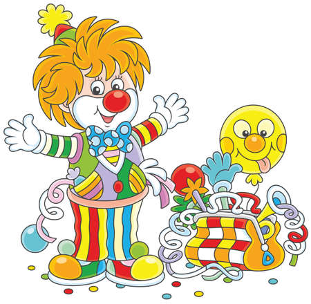 Friendly smiling circus clown with his toys Ilustracja