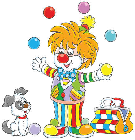 Circus clown juggling with color balls