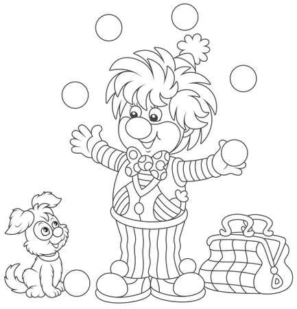 Circus clown juggling with balls