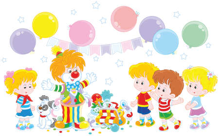 Circus clown playing with children Stock Illustratie