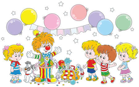 Circus clown playing with little children Stock Illustratie