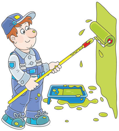 House painter coloring a wall with a paint roller