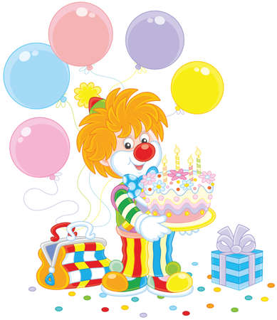Circus clown with a birthday cake, balloons and a gift. Illustration